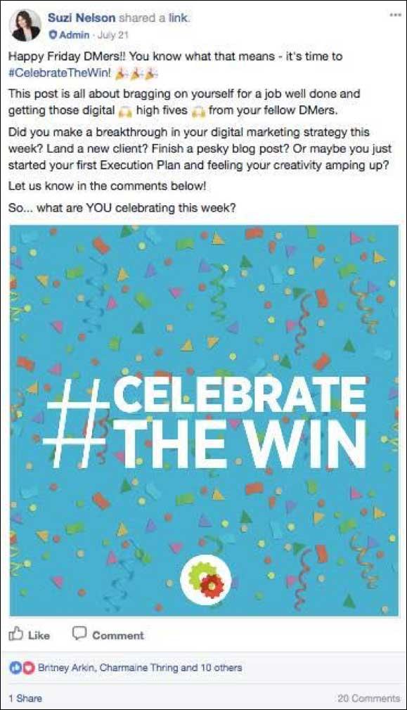 Festeggia il post su Facebook di vittorie