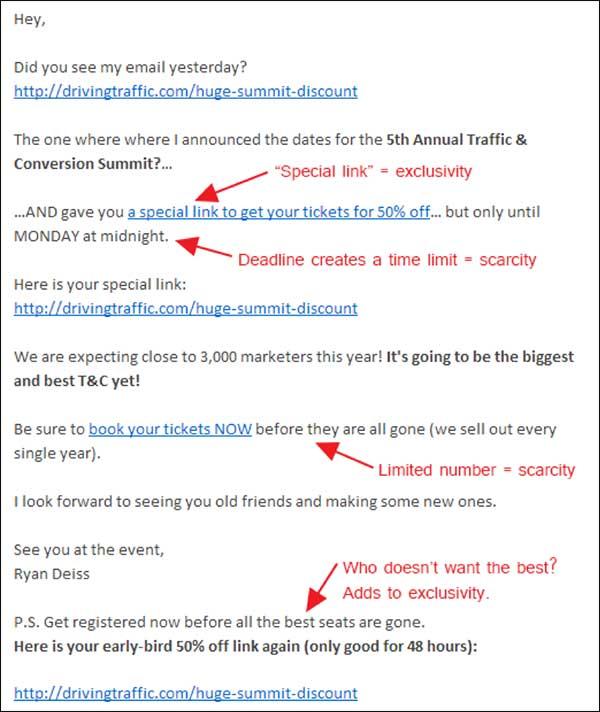 Email contenente diversi esempi di scarsità