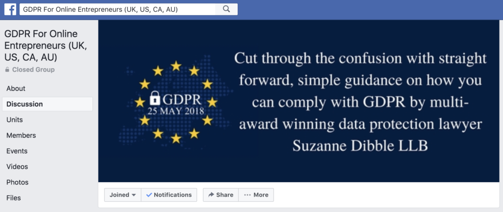 gdpr suzanne dibble facebook group