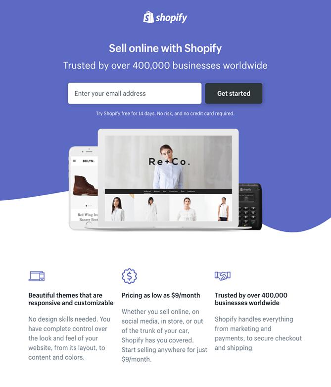 """Pagina di destinazione per la registrazione di Shopify """"class ="""" alignCenter shadow"""