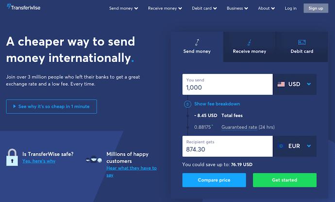 TransferWise iscriviti alla pagina di destinazione con CTA per l'invio di denaro, la ricezione di denaro e la carta di debito TransferWise