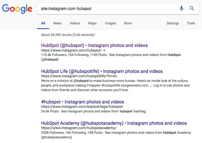 Ricerca nel sito di Google per HubSpot, che consente di cercare utenti di Instagram senza un account