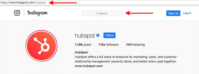 Profilo Instagram di HubSpot con frecce rosse che puntano alla barra di ricerca per cercare gli utenti senza un account