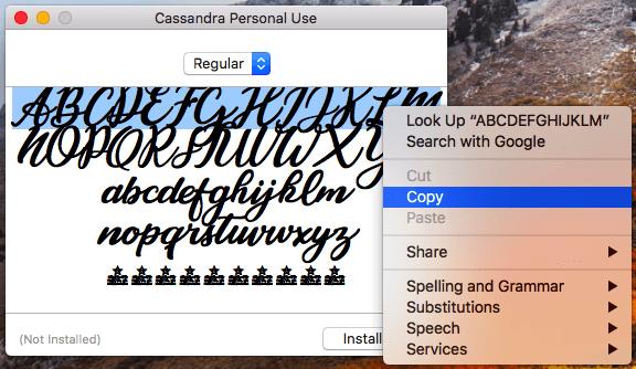 Instagram bio hack per copiare il font Cassandra sul tuo profilo di Instagram su un desktop.