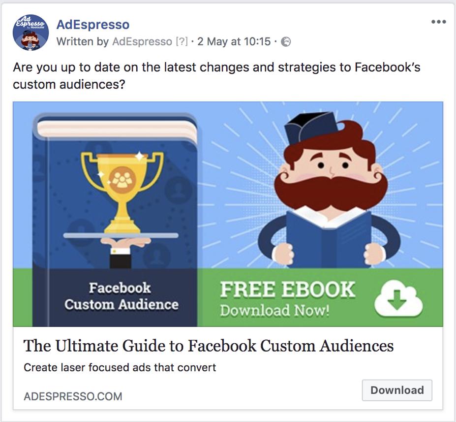 lunghezza della copia dell'annuncio di facebook - esempio di testo dell'esperimento di adespresso 2