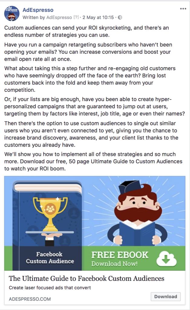 lunghezza della copia dell'annuncio di facebook - esempio di testo dell'esperimento di candeliere 7