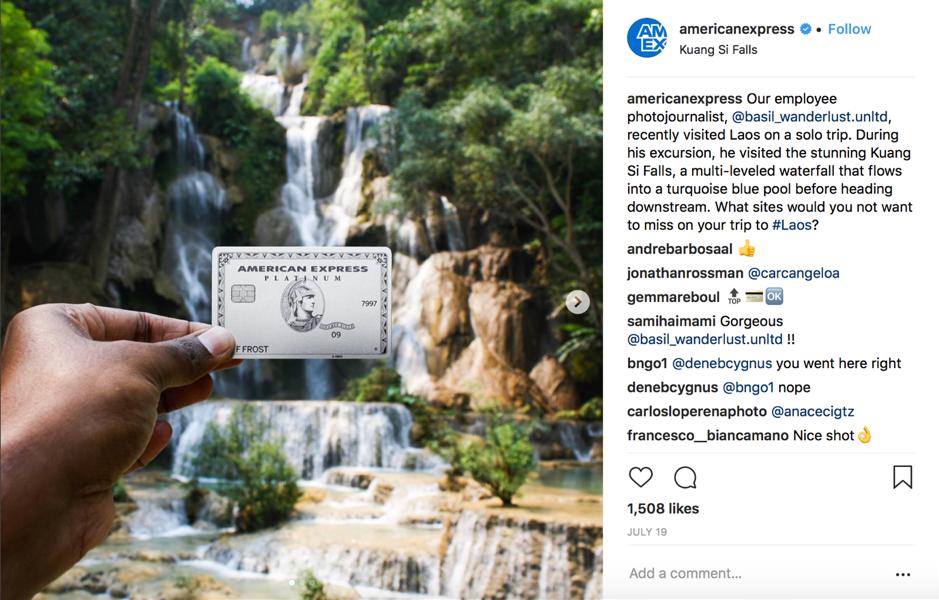 Foto di carta di instagram American Express