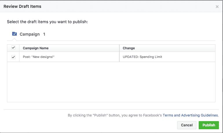 facebook ad draft creation update