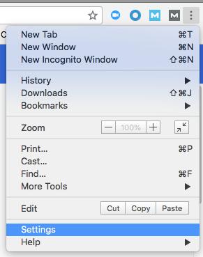 """Opzione Impostazioni nel menu a discesa del browser Chrome di Google """"width ="""" 291 """"style ="""" width: 291px; blocco di visualizzazione; margin-left: auto; margin-right: auto; """"srcset ="""" https://blog.hubspot.com/hs-fs/hubfs/chrome-settings.png?t=1535519301939&width==146&name=chrome-settings.png 146w, https: // blog .hubspot.com / hs-fs / hubfs / chrome-settings.png? t = 1535519301939 & width = 291 & name = chrome-settings.png 291w, https://blog.hubspot.com/hs-fs/hubfs/chrome-settings. png? t = 1535519301939 & width = 437 & name = chrome-settings.png 437w, https://blog.hubspot.com/hs-fs/hubfs/chrome-settings.png?t=1535519301939&width=582&name=chrome-settings.png 582w, https://blog.hubspot.com/hs-fs/hubfs/chrome-settings.png?t=1535519301939&width=728&name=chrome-settings.png 728w, https://blog.hubspot.com/hs-fs/hubfs /chrome-settings.png?t=1535519301939&width=873&name=chrome-settings.png 873w """"sizes ="""" (larghezza massima: 291 px) 100vw, 291 px"""