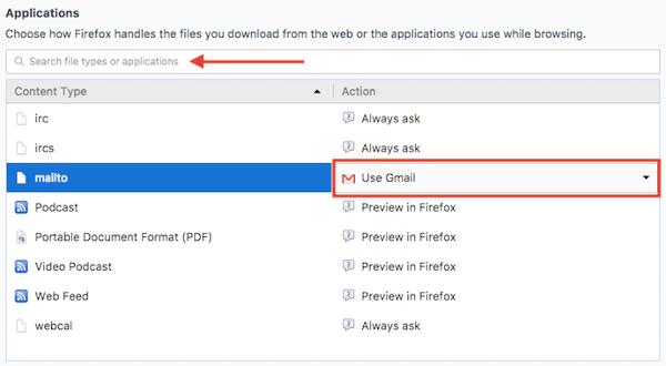 "Menu Applicazioni con l'opzione di posta elettronica predefinita in Impostazioni generali di Firefox ""width ="" 600 ""style ="" width: 600px; blocco di visualizzazione; margin-left: auto; margin-right: auto; ""srcset ="" https://blog.hubspot.com/hs-fs/hubfs/firefox-applications.png?t=1535519301939&width=300&name=firefox-applications.png 300w, https: // blog .hubspot.com / hs-fs / hubfs / firefox-applications.png? t = 1535519301939 & width = 600 & name = firefox-applications.png 600w, https://blog.hubspot.com/hs-fs/hubfs/firefox-applications. png? t = 1535519301939 & width = 900 & name = firefox-applications.png 900w, https://blog.hubspot.com/hs-fs/hubfs/firefox-applications.png?t=1535519301939&width=1200&name=firefox-applications.png 1200w, https://blog.hubspot.com/hs-fs/hubfs/firefox-applications.png?t=1535519301939&width=1500&name=firefox-applications.png 1500w, https://blog.hubspot.com/hs-fs/hubfs /firefox-applications.png?t=1535519301939&width=1800&name=firefox-applications.png 1800w ""sizes ="" (larghezza massima: 600px) 100vw, 600px"