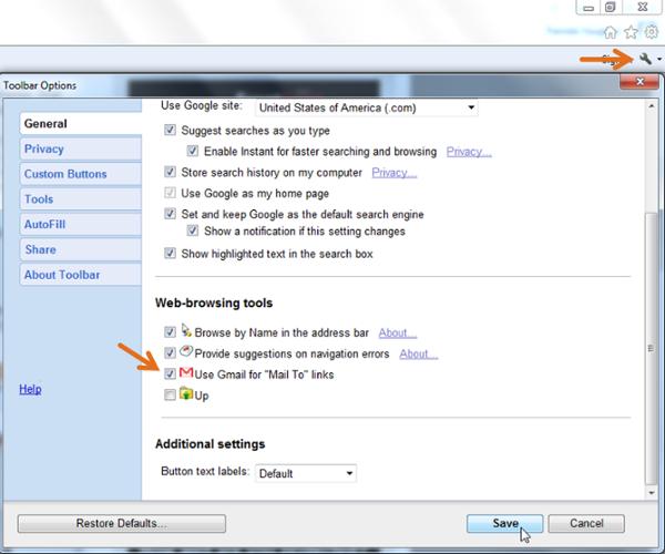 """Schermata delle opzioni della barra degli strumenti per impostare il client di posta elettronica predefinito di Gmail per i collegamenti Mail To in Internet Explorer """"width ="""" 600 """"srcset ="""" https://blog.hubspot.com/hs-fs/hub/53/file-651927178-png/Blog -Related_Images / toolbar-options-ie.png? T = 1535519301939 & width = 300 & name = toolbar-options-ie.png 300w, https://blog.hubspot.com/hs-fs/hub/53/file-651927178-png/ Blog-Related_Images / toolbar-options-ie.png? T = 1535519301939 & width = 600 & name = toolbar-options-ie-png 600w, https://blog.hubspot.com/hs-fs/hub/53/file-651927178-png /Blog-Related_Images/toolbar-options-ie.png?t=1535519301939&width=900&name=toolbar-options-ie.png 900w, https://blog.hubspot.com/hs-fs/hub/53/file-651927178- png / Blog-Related_Images / toolbar-options-ie.png? t = 1535519301939 & width = 1200 & name = toolbar-options-ie.png 1200w, https://blog.hubspot.com/hs-fs/hub/53/file-651927178 -png / Blog-Related_Images / toolbar-options-ie.png? t = 1535519301939 & width = 1500 & name = toolbar-options-ie.png 1500w, https://blog.hubspot.com/hs-fs/hub/53/file- 651927178-png / Blog-Related_Images / t oolbar-options-ie.png? t = 1535519301939 & width = 1800 & name = toolbar-options-ie.png 1800w """"sizes ="""" (larghezza massima: 600px) 100vw, 600px"""