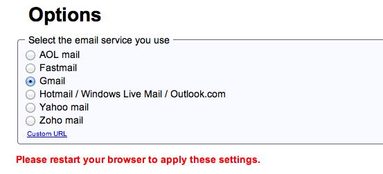 Menu Opzioni in Mailto Extension di Google con pulsante blu per impostare il client di posta elettronica predefinito di Gmail in Safari