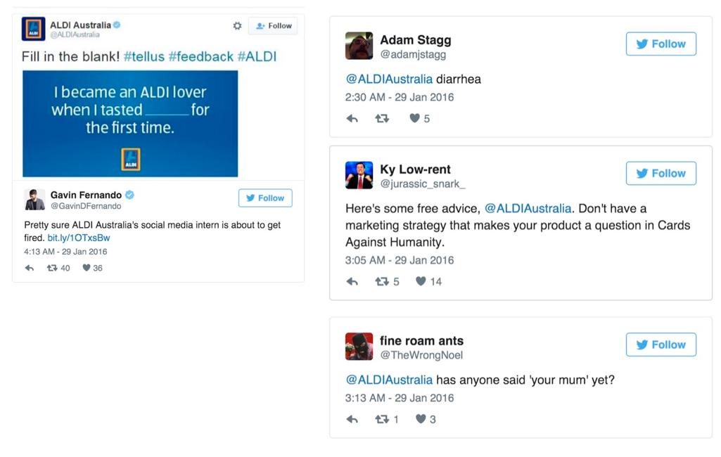 Errore di social media ALDI