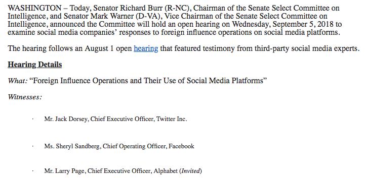 Dettagli dell'audizione per le operazioni sull'influenza straniera e il loro utilizzo di piattaforme di social media