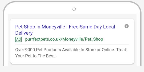 Esempio di annuncio mobile per negozio di animali domestici