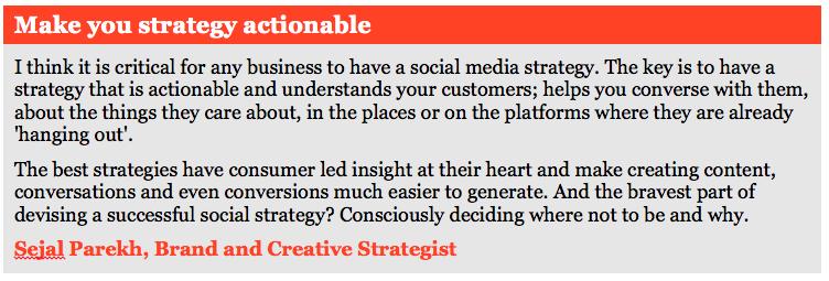 Citazione della strategia sui social media