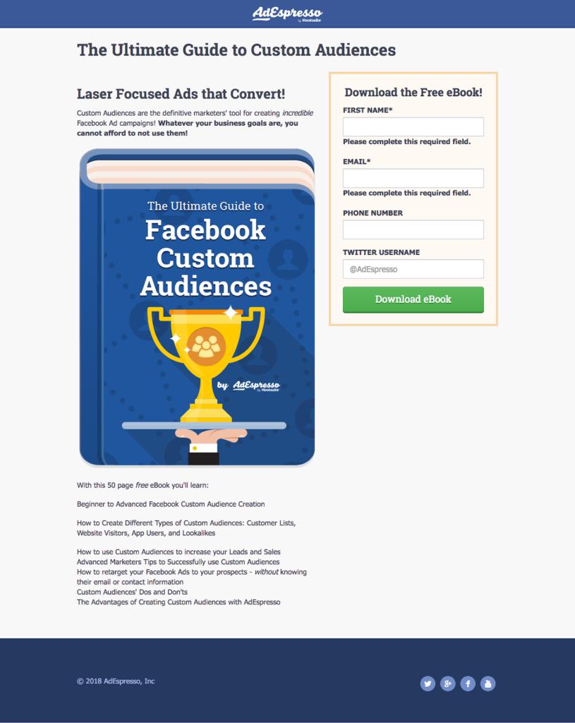 lunghezza copia dell'annuncio facebook - esperimento adespresso - obiettivo