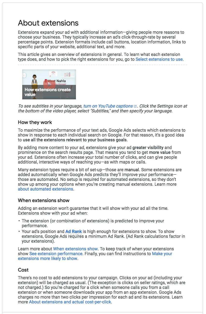 estensioni annuncio di annunci Google