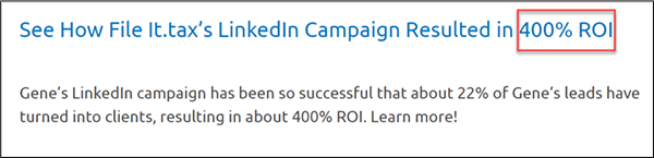 Case study su come la campagna LinkedIn di It.tax ha prodotto un ROI del 400%