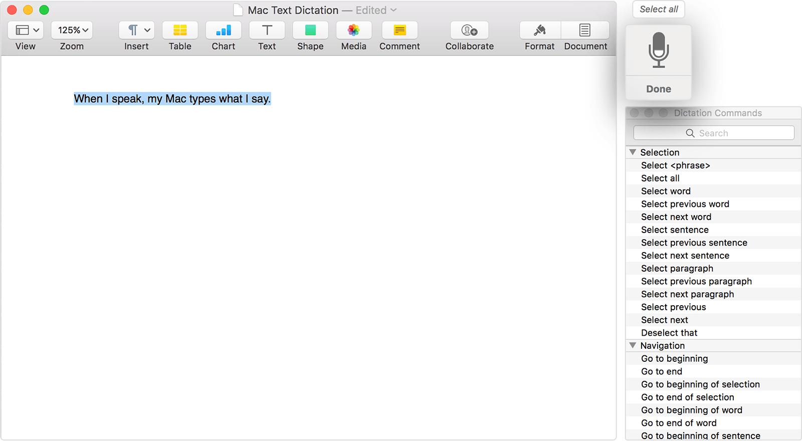 Software Voice-to-Text di Apple Dettatura