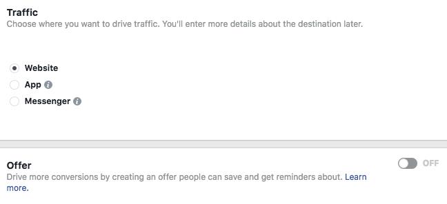 Screenshot: dirigere il traffico e creare un'offerta.