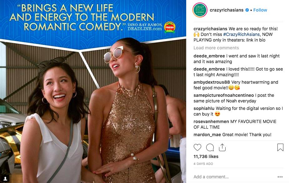 Crazy Rich Asian: un esempio di utilizzo degli hashtag per generare più traffico.