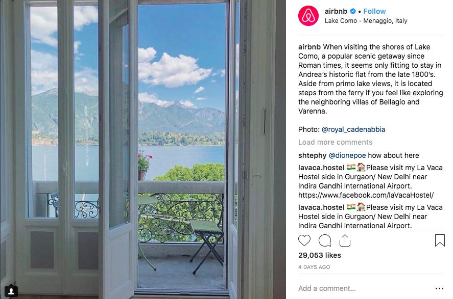 Esempio di contenuto generato dall'utente: Airbnb.