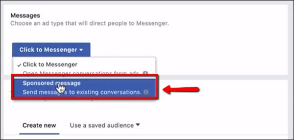 Seleziona il messaggio sponsorizzato
