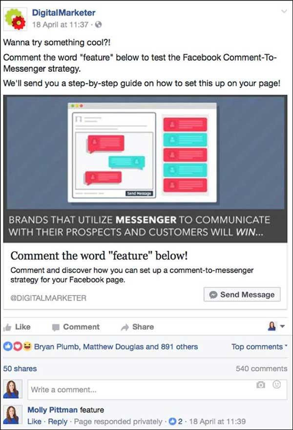 Esempio di demo dell'annuncio di messaggistica