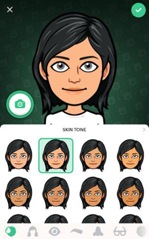 Schermata dell'app Bitmoji con avatar femminili con capelli neri e opzioni tono della pelle