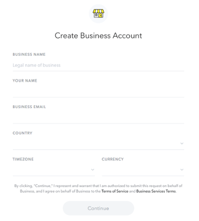 creare-Snapchat-business conto