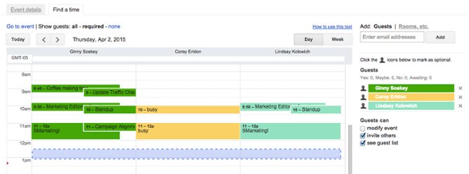 """Trova una funzione temporale in Google Calendar, con gli orari degli eventi per gli ospiti di tre eventi affiancati """"srcset ="""" https://blog.hubspot.com/hs-fs/hub/53/file-2606842863-png/00-Blog- Related_Images / findatime.png? T = 1536571987949 & width = 335 & name = findatime.png 335w, https://blog.hubspot.com/hs-fs/hub/53/file-2606842863-png/00-Blog-Related_Images/findatime.png ? t = 1536571987949 & width = 669 & name = findatime.png 669w, https://blog.hubspot.com/hs-fs/hub/53/file-2606842863-png/00-Blog-Related_Images/findatime.png?t=1536571987949&width= 1004 & name = findatime.png 1004w, https://blog.hubspot.com/hs-fs/hub/53/file-2606842863-png/00-Blog-Related_Images/findatime.png?t=1536571987949&width=1338&name=findatime.png 1338w, https://blog.hubspot.com/hs-fs/hub/53/file-2606842863-png/00-Blog-Related_Images/findatime.png?t=1536571987949&width=1673&name=findatime.png 1673w, https: / /blog.hubspot.com/hs-fs/hub/53/file-2606842863-png/00-Blog-Related_Images/findatime.png?t=1536571987949&width=2007&name=findatime.png 2007w """"sizes ="""" (ma x-width: 669px) 100vw, 669px"""