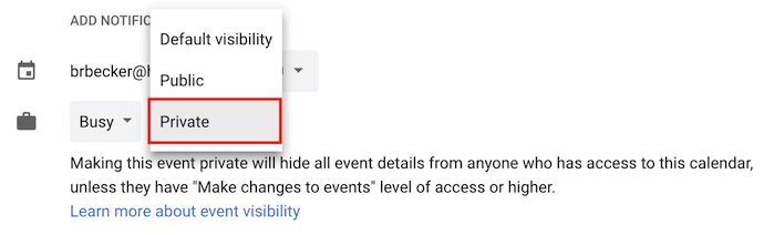 "Menu a discesa per rendere un evento privato in Google Calendar ""width ="" 690 ""style ="" width: 690px; ""srcset ="" https://blog.hubspot.com/hs-fs/hubfs/private-event.png?t = 1536571987949 & width = 345 & name = private-event.png 345w, https://blog.hubspot.com/hs-fs/hubfs/private-event.png?t=1536571987949&width=690&name=private-event.png 690w, https: / /blog.hubspot.com/hs-fs/hubfs/private-event.png?t=1536571987949&width=1035&name=private-event.png 1035w, https://blog.hubspot.com/hs-fs/hubfs/private- event.png? t = 1536571987949 & width = 1380 & name = private-event.png 1380w, https://blog.hubspot.com/hs-fs/hubfs/private-event.png?t=1536571987949&width=1725&name=private-event.png 1725w, https://blog.hubspot.com/hs-fs/hubfs/private-event.png?t=1536571987949&width=2070&name=private-event.png 2070w ""sizes ="" (larghezza massima: 690 px) 100vw, 690 px"