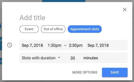 """Pulsante blu per abilitare la funzione di spazi per appuntamenti nell'evento di Google Calendar """"width ="""" 461 """"style ="""" width: 461px; blocco di visualizzazione; margin-left: auto; margin-right: auto; """"srcset ="""" https://blog.hubspot.com/hs-fs/hubfs/arrange-appointment-slots.png?t=1536571987949&width=231&name=arrange-appointment-slots.png 231w, https : //blog.hubspot.com/hs-fs/hubfs/arrange-appointment-slots.png? t = 1536571987949 & width = 461 & name = organizza-appuntamento-slots.png 461w, https://blog.hubspot.com/hs- fs / hubfs / arrange-appointment-slots.png? t = 1536571987949 & width = 692 & name = organizza-appuntamento-slots.png 692w, https://blog.hubspot.com/hs-fs/hubfs/arrange-appointment-slots.png ? t = 1536571987949 & width = 922 & name = organizza-appuntamento-slots.png 922w, https://blog.hubspot.com/hs-fs/hubfs/arrange-appointment-slots.png?t=1536571987949&width=1153&name=arrange-appointment- slots.png 1153w, https://blog.hubspot.com/hs-fs/hubfs/arrange-appointment-slots.png?t=1536571987949&width=1383&name=arrange-appointment-slots.png 1383w """"sizes ="""" (max. larghezza: 461 px) 100vw, 461 px"""
