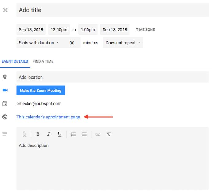"Link alla pagina degli appuntamenti di Google Calendar ""width ="" 690 ""style ="" width: 690px; ""srcset ="" https://blog.hubspot.com/hs-fs/hubfs/google-appointments-page.png?t= 1536571987949 & width = 345 & name = google-appointments-page.png 345w, https://blog.hubspot.com/hs-fs/hubfs/google-appointments-page.png?t=1536571987949&width=690&name=google-appointments-page.png 690w, https://blog.hubspot.com/hs-fs/hubfs/google-appointments-page.png?t=1536571987949&width=1035&name=google-appointments-page.png 1035w, https://blog.hubspot.com /hs-fs/hubfs/google-appointments-page.png?t=1536571987949&width=1380&name=google-appointments-page.png 1380w, https://blog.hubspot.com/hs-fs/hubfs/google-appointments- page.png? t = 1536571987949 & width = 1725 & name = google-appointments-page.png 1725w, https://blog.hubspot.com/hs-fs/hubfs/google-appointments-page.png?t=1536571987949&width=2070&name=google -appointments-page.png 2070w ""sizes ="" (larghezza massima: 690px) 100vw, 690px"