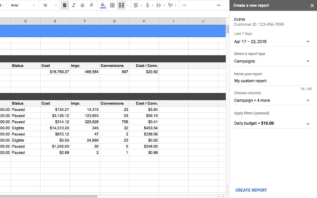 Google-Sheet-Integrazione-Custom-Report