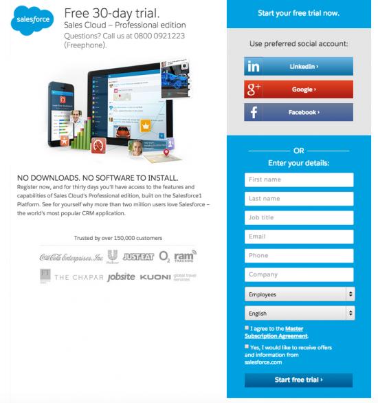 Esempio di pagina di destinazione di Salesforce: pagina di destinazione breve con modulo