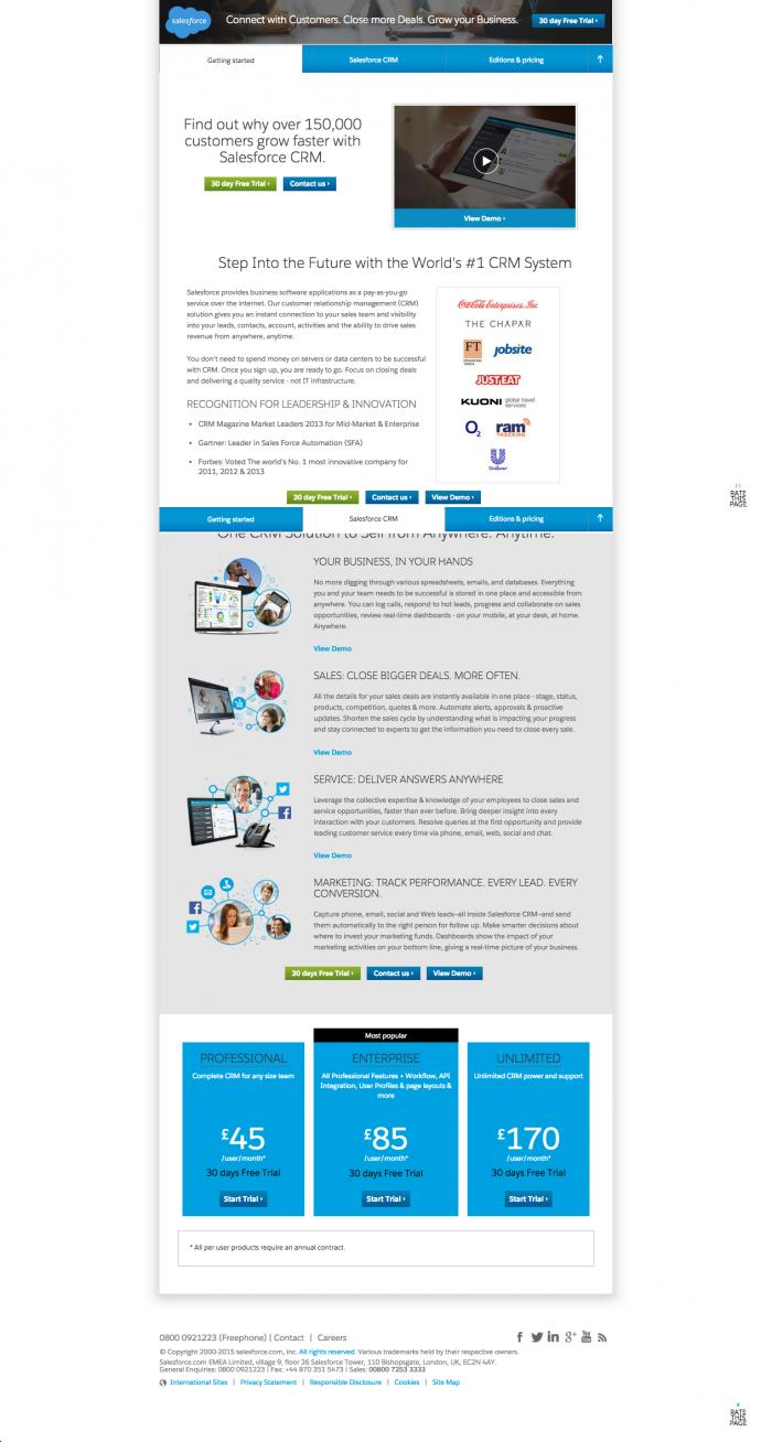 esempio di pagina di destinazione - forma lunga - forza vendita