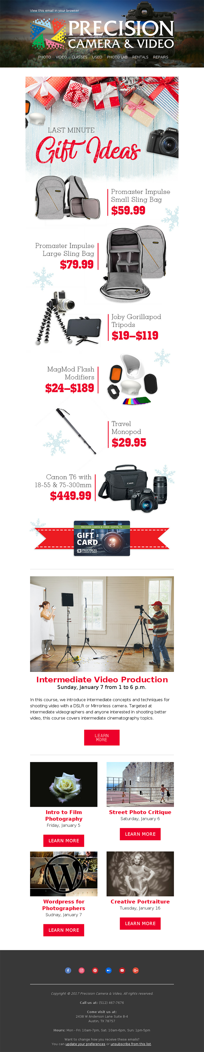 Email vacanza Marekting Precision Camera Natale