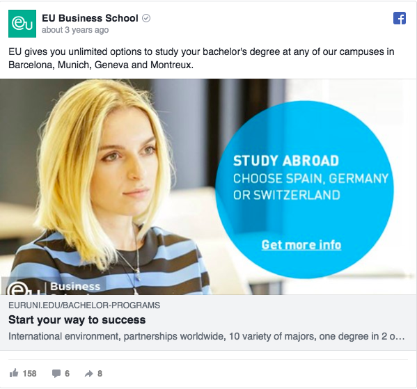Annuncio pubblicitario di Facebook su EU Business School