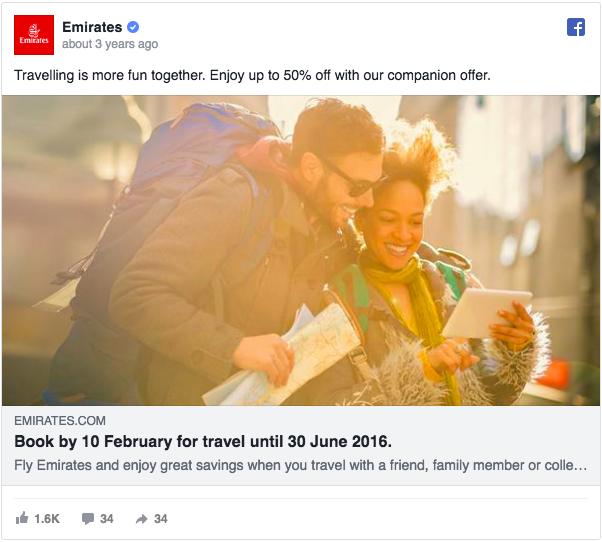 Annuncio pubblicitario di Facebook su Emirates Ad