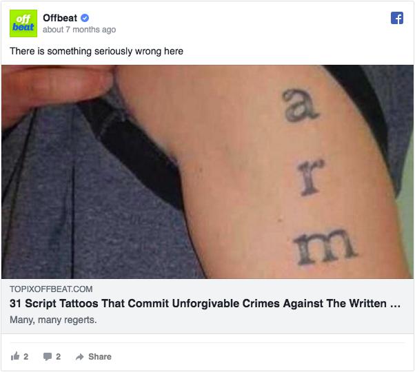 Annuncio pubblicitario di Facebook su Annuncio Offbeat