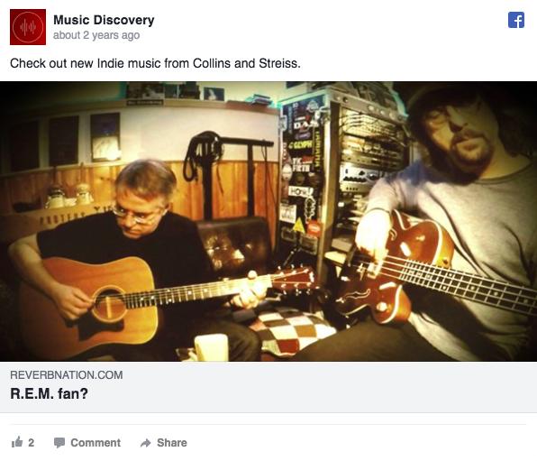 Annuncio pubblicitario di Facebook su Music Discovery