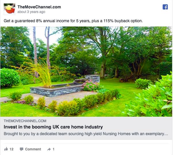 Annuncio pubblicitario di Facebook sull'annuncio The Move Channel