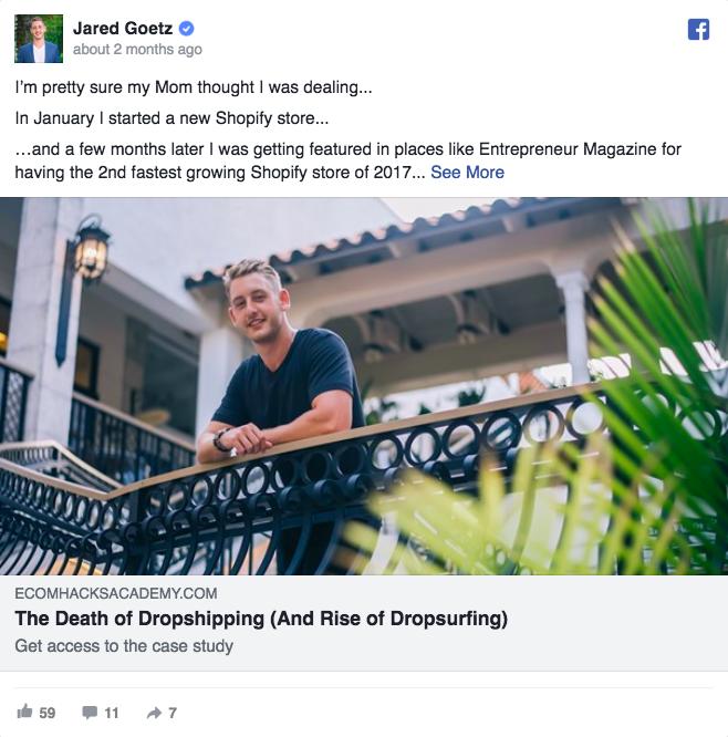 Annuncio pubblicitario di Facebook su Jared Goetz