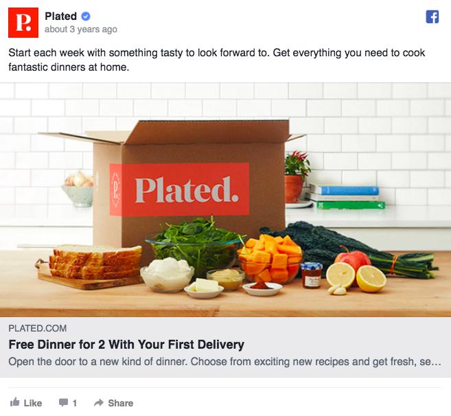Annuncio pubblicitario di Facebook sull'annuncio placcato