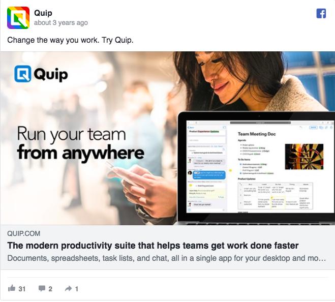 Annuncio pubblicitario di Facebook su Quip Ad