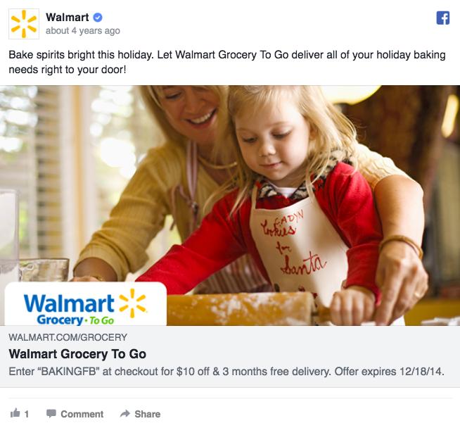 Annuncio pubblicitario di Facebook su Walmart Ad