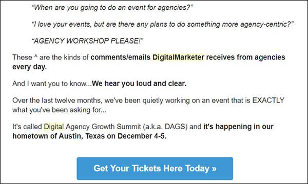 Esempio di DigitalMarketer: copia e-mail convincente