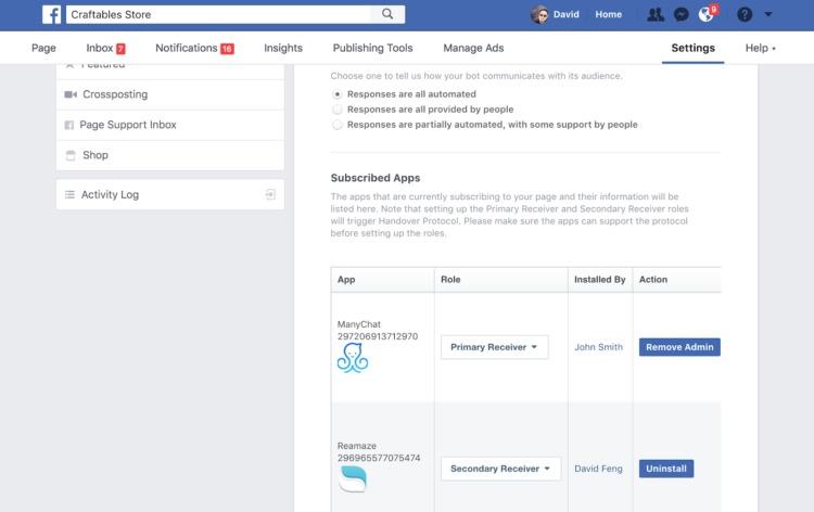 servizio clienti vacanze bot di Facebook